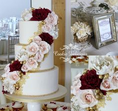 Masala burgundy & blush wedding cake with edible gold lace detailing. Peonies & roses. Essex based wedding cakes www.cookiedelicious.co.uk