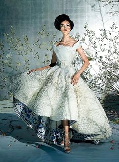 At the Christian Dior Haute Couture Spring 2009 show in Paris, John Galliano's lining on a cream silk ball gown (worn by model Fei Fei Sun) referenced the designer's fascination with blue-and-white porcelain.