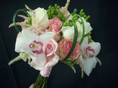 Flower bouquet; Roses; Orchids