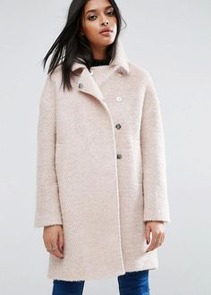 asos wool and boucle oversized cocoon coat