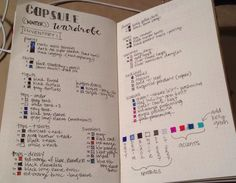 CAPSULE WARDROBE BUJU BULLET JOURNAL -  This is as far as I got. I kon-mari'd my closet and this is what's left.