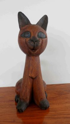 Wood Carved Cat Collectible Statue Sitting by CrystalLightDesigns, $42.00