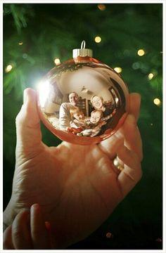 Great Christmas photo idea - portrait in ornament reflection