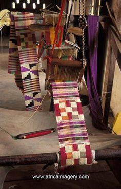 Africa | Kente cloth weaving, Bonwire, Ghana | ©Africa Imagery