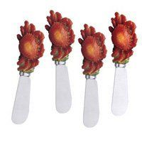 """Spreader Set of 4 - Crab by Supreme Housewares Inc.. $9.95. Set of 4. Cheese Spreader-Crab Design. Stainless Steel Blade. Hand painted resn handle. Includes: 4-Crab Cheese Spreader Material: Stainless steel Handle: Hand painted resin Dimension: 5"""" length Care and Clean: Hand wash"""