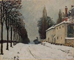 Snow on the Road, Louveciennes (Chemin de la Machine) by Alfred Sisley