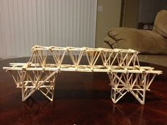 The objective of this project was to build a bridge using nothing but school glue and toothpicks. Our teacher have us credit for just simply building a bridge but gave us extra points for every pound it held with the maximum being 30 pounds. Toothpick Sculpture, Toothpick Crafts, Stem Projects For Kids, School Projects, Art Projects, Physics Projects, Bridge Model, Building Concept, Bridge Design