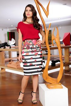 51 Ideas For Womens Outfits For Work Teacher Blouses - Work Outfits Women Casual Skirt Outfits, Office Outfits, Classy Outfits, Chic Outfits, Casual Dresses, Fashion Outfits, Work Fashion, Modest Fashion, Stripe Skirt