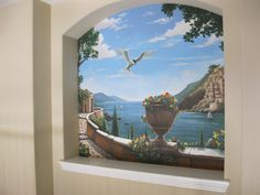 Mediterranean seascape in Niche.     www.dwcustommurals.com, Dream Walls Murals and faux Finish. By Artist Alfredo Montenegro