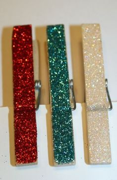 Glittery clothespins. For gifts or eye candy storage solutions