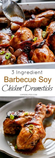 Barbecue Soy Chicken Drumsticks are so quick & simple to make with only 3 ingredients...including the chicken! A shortcut to Teriyaki, this recipe is a hit!