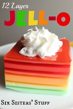 12-Layer Jello Salad Recipe - This would make a perfect Easter side dish! From sixsistersstuff.com