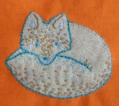 Fox applique with embroidery