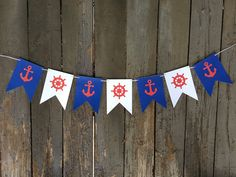 Nautical Garland, Nautical Banner, Nautical Baby Shower, Nautical Birthday, Anchor Garland, Anchor Banner, Photo Prop by CraftyCue on Etsy