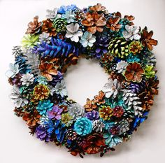 Hand Crafted Pine Cone Wreath Home Decor 16 Purples and by EacArt