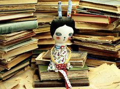The White Rabbit - Alice In Wonderland Mixed Media Soft Fabric Art Doll by Danita Art - Approx 12 Inches Tall.