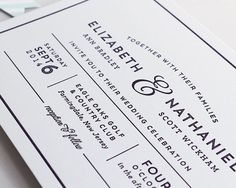 Modern, bold letterpress wedding Invitation also available in flat print - CAROLINE gray and white modern type