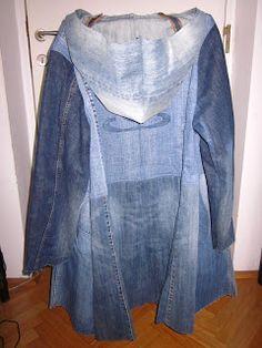 Mantel aus 6 alten Jeanshosen