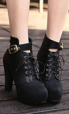 Chunky Heel Black Martens Boots on Luulla Black Chunky Heels, Black Shoes, Chunky Shoes, Thick Heels, Lace Up Ankle Boots, Heeled Boots, Cute Shoes, Me Too Shoes, Cute Boots For Women