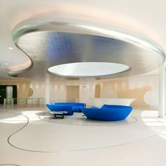 lobby by Alberto design ideas design office Futuristic Interior, Yacht Interior, Futuristic Design, Hotel Interiors, Office Interiors, Office Ceiling, Plafond Design, Clinic Design, Office Interior Design