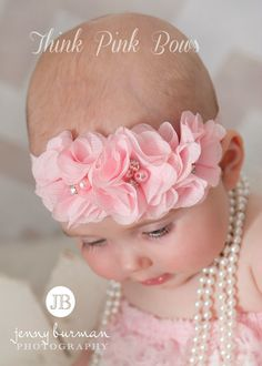 Baby Headband, Pink Baby Headband,Baby Headbands,Newborn Headband,Shabbby Chic Headband, Girl Headband,Easter Headband,  Baby hair bows. on Etsy, 5,22 €
