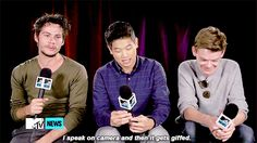 Dylan feels ;)) He hates talking on camera lol , Thomas Brodie Sangster is so cute laughing :)) (1) Tumblr