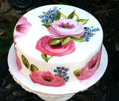 Painted Rose & Forget-Me-Not Cake | por Flutterby Bakery