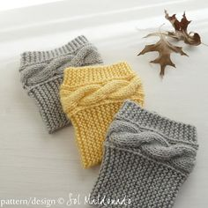 Boot socks pattern Boho Knits - Boot Cuffs, leg warmers PDF Knitting Pattern - cable fall knits accessories PHOTO tutorial. $5.00, via Etsy.
