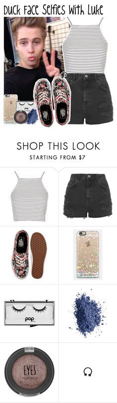 """""""Duck Face Selfies with Luke"""" by albamonkey ❤ liked on Polyvore featuring Topshop, Vans, Casetify, Pop Beauty and Smashbox"""