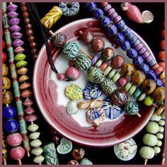 Stoneware & raku beads of New Hampshire artist Keith O'Connor