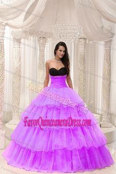 Sexy Black and Purple Organza Sweet Sixteen Dresses with Ruffle-layers