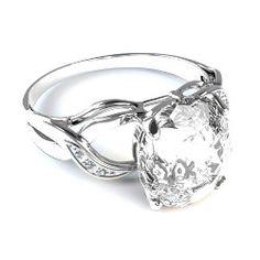 18 Kt White gold cushion diamond engagement ring