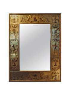 French Maison Jansen Style Verre Eglomise Mirror