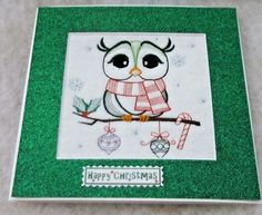 completed handmade embroidered Christmas Card Cute Green Owl