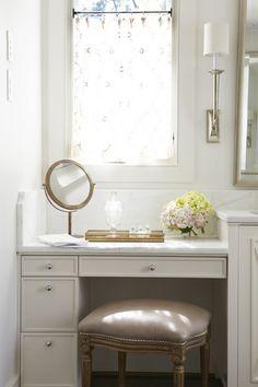In Good Taste:  Jan Ware Interiors - marble detail for step down vanity space
