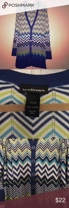 Lane Bryant Long Herringbone-ish pattern Cardigan Lane Bryant Long Cardigan with herringbone-type pattern size 22/24 Lane Bryant Sweaters Cardigans