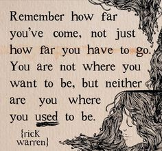 Remember how far you've come, not just how far you have to go. You are not where you want to be, but neither are you where you used to be. – Rick Warren thedailyquotes.com