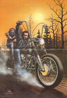 David Mann ''Turkey Steals A Turkey'' 16'' x 20'' Matted Biker Art #8211ezrxm