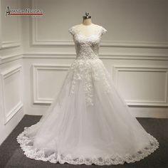 Aliexpress.com: Compre A linha Lace apliques vestido de casamento 2016 NS1228 de confiança vestido de batik fornecedores em Amanda Novias Wedding Dress Factory