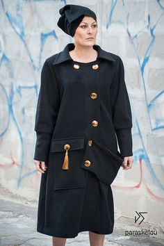 Unique black wool coat loose fit embellished by paraskeloufashion