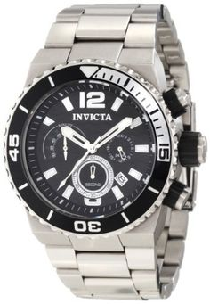 Invicta Men's 1341 Pro Diver Chronograph Black Textured Dial Stainless Steel Watch Invicta. Save 85 Off!. $104.49. Chronograph functions with 60 second, 60 minute and 24 hour subdials; date function. Japanese quartz movement. Flame-fusion crystal; brushed stainless steel case and bracelet. Black textured dial with silver tone hands, arabic numerals and hour markers; luminous; unidirectional bezel with black and silver ring; stainless steel crown and pushers with black accents. Wa...