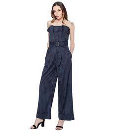 bbe49d03ef3b Striped Ruffles Strapless Belt High Waist Long Wide Leg Jumpsuit Wide Leg  Trousers