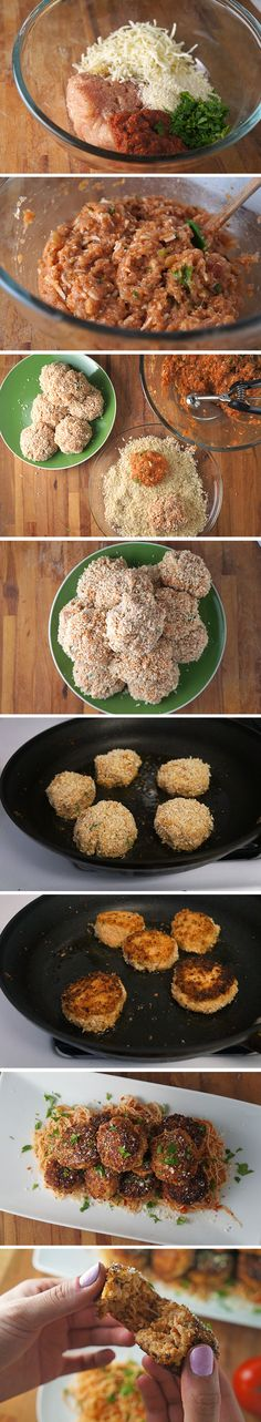 How to: Chicken Parm Balls -- as delicious as they are cute!!! http://livelaughcook.com/chicken-parm-balls