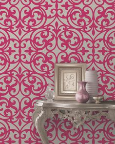 Sonata pink ironwork Striking and contemporary, yet grounded by classic influences, this ironwork wallpaper radiates glamour in soft silver and pink. Brewster Home Fashions. Hallway Wallpaper, Bright Wallpaper, Wallpaper Decor, White Wallpaper, Wallpaper Ideas, Beautiful Wallpaper, Bathroom Wallpaper, Hallway Designs, Hallway Ideas