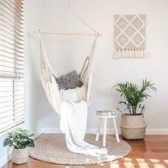 Our Hammock Chairs are made of the highest quality materials and come with a unique side pocket where you can store your book, iPad, TV remote control, or anything that you need to access conveniently without standing up. Hammock In Bedroom, Indoor Hammock Chair, Bedroom Chair, Bedroom Decor, Living Room Hammock, Outdoor Hammock, Bedroom Ideas, Cute Room Decor, Swinging Chair