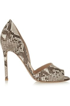 aa81e1c51f8a Heel measures approximately 4 inches White and gray python Slip on Python   Indonesia Large to size. See Size   Fit tab.