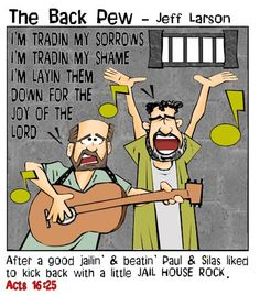 This bible cartoon features from Acts 16 Paul and Silas worshiping Jesus with a little jail house rock Sunday School Projects, Sunday School Activities, Church Activities, Bible Lessons For Kids, Bible For Kids, Paul And Silas, Bible Cartoon, Worship Jesus, Memory Verse