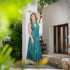 Cotton maxi dress, geometric print maxi dress, halterneck dress, halterneck maxi dress, green and blue dress, wedding guest dress, holiday dress, holiday style, ibiza style, flamenco, fair trade fashion www.charlotteswebuk.com