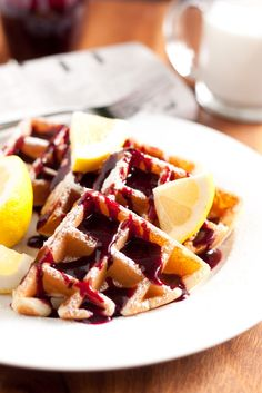 Lemon Belgian Waffles with Blueberry Syrup - simply divine! (Lemon Poppy Seed Waffle variation too) One Waffle Recipe, Waffle Recipes, Brunch Recipes, Dessert Recipes, Brunch Menu, Lemon Desserts, Lemon Recipes, Sunday Brunch, Brunch Ideas
