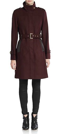 Cole Haan | Belted Leather-Trimmed Coat | SAKS OFF 5TH